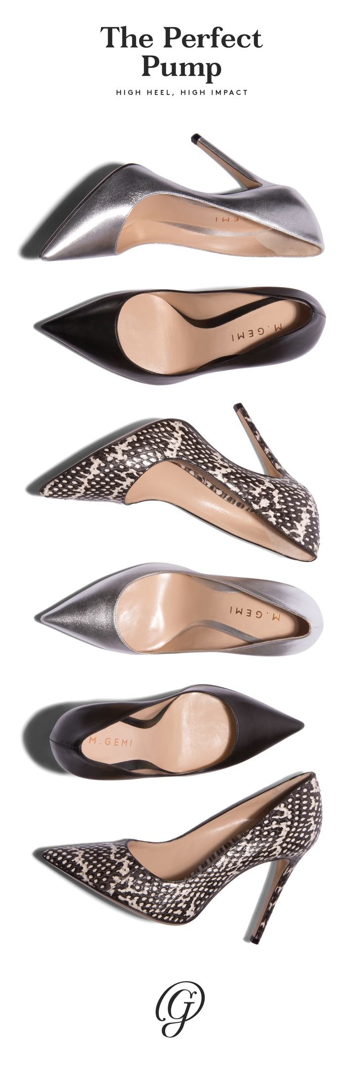 Whether in black leather, silver metallic nappa, or black-and-white watersnake, these high-impact high heels turn a basic outfit (jeans and a T) into a full-on look. Shop our pumps and elevate your look. | @ working 9 to 5