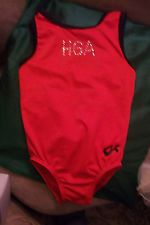 GIRLS GK RED LEOTARD WITH BLACK TRIM,EXCELLENT COND,SIZE 7-8, 19 GIRTH