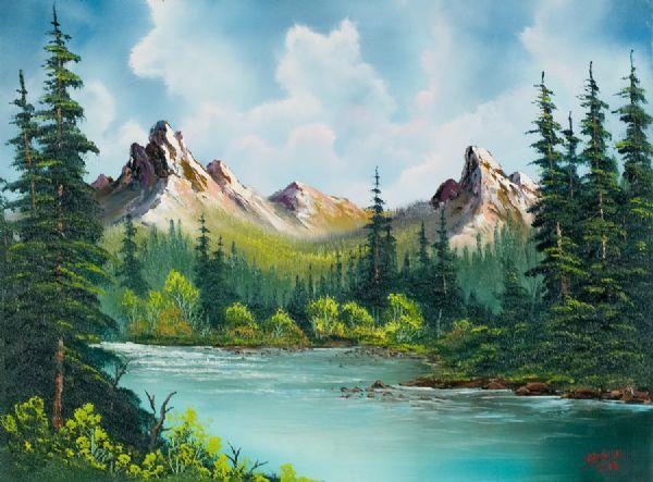 bob ross twin peaks river paintings