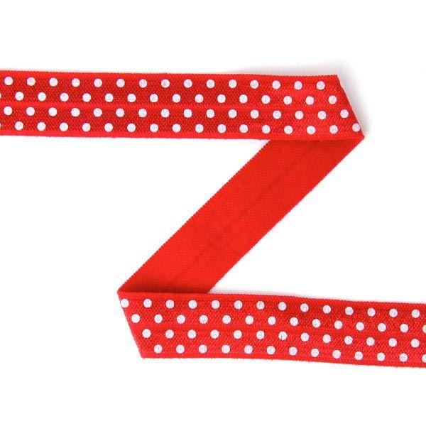 Elastisches Einfassband (Falzgummi) - Punkte - rot, weiss