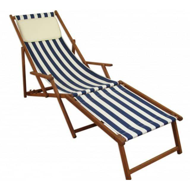 Liegestuhl Gartenliege blau-weiß Fußablage Kissen Sonnenliege klappbar Deckchair Buche 10-317 F KH - erst-holz