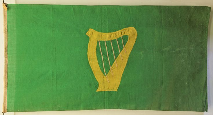 1916 Easter Rising Anniversary: A rare Irish Citizen Army flag was loaned to Dublin by The Inniskillings Museum for the 100th Easter Rising celebrations.  The  original 'uncrowned' Irish Green Harp Flag is owned by The Inniskillings Museum Collection, Enniskillen, in NORTHERN IRELAND.