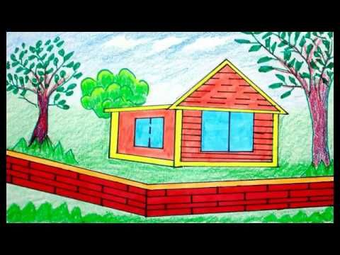 (39) How to draw scenery, scenery of house, draw for beginners, drawing step by step - YouTube