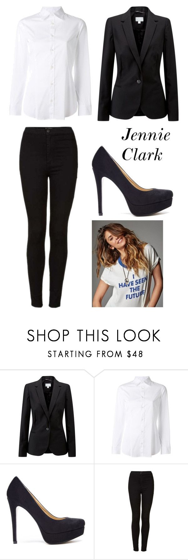 """""""For upcoming story"""" by ctetrash on Polyvore featuring Pure Collection, Dsquared2, Chinese Laundry, Topshop, Heels, blazer, jeans and top"""