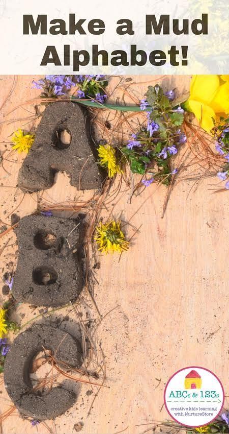 Sensory alphabet for children - great for outdoor literacy activities - make a mud alphabet!