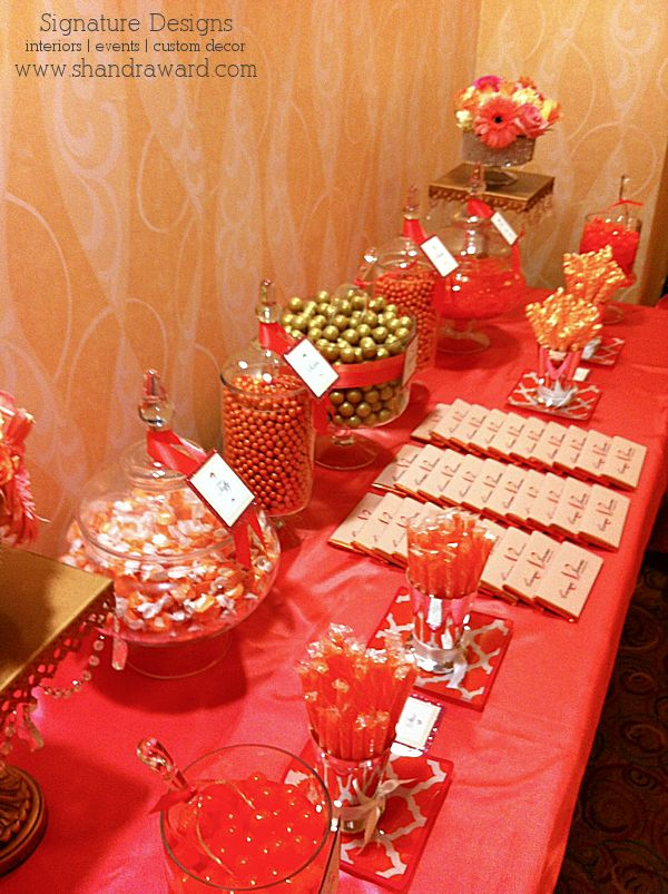 coral  u0026 gold candy buffet created by signature sweets by signature designs