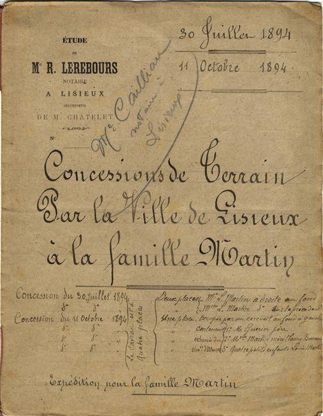 Concession Famille Martin, Cahier de Mon Oncle http://www.archives-carmel-lisieux.fr/carmel/index.php?option=com_content&view=category&id=350