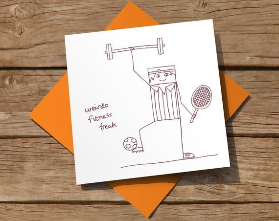 Free Uk Delivery Greeting Card With Fitness Freak Etsy In 2021 Cards Greeting Cards Fitness Freak