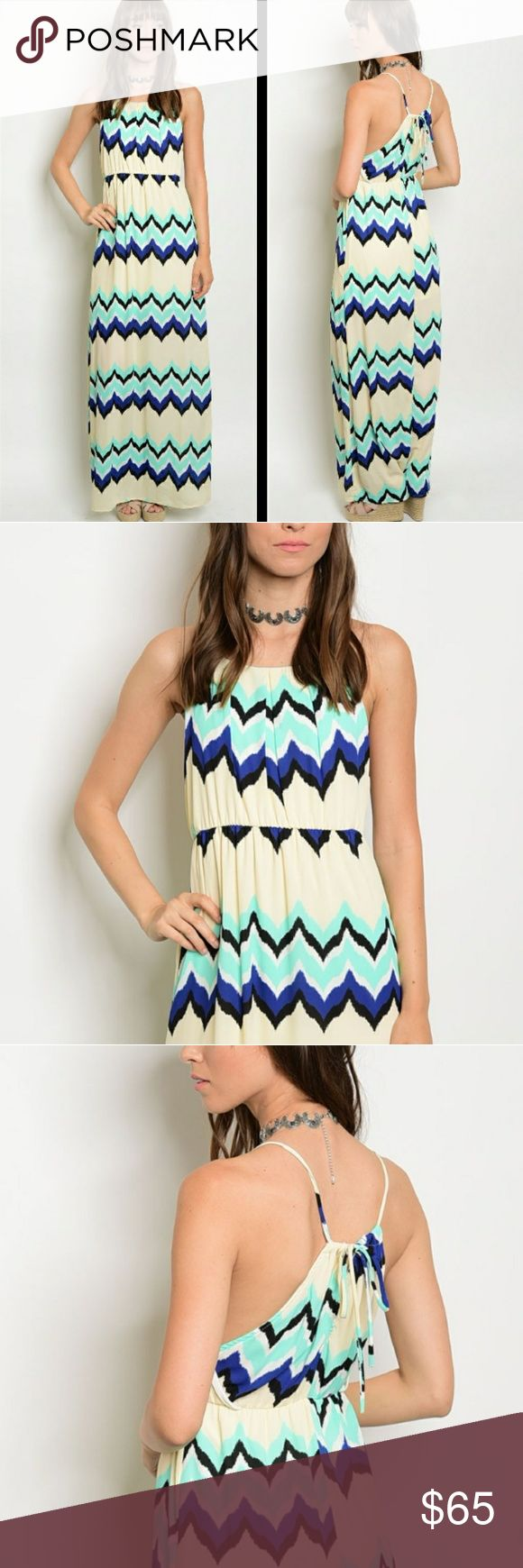 3PACK CREAM MINT BLUE BLACK CHEVRON MAXI DRESS Love this maxi dress! It's so fun and chic. Features a chevron print. Halter style. Pleated neckline. Ties in back. Lined.    3PACK: 1S 1M 1L  5%OFF 3+BUNDLES. SUBJECT TO 5LB WEIGHT LIMIT. Dresses Maxi