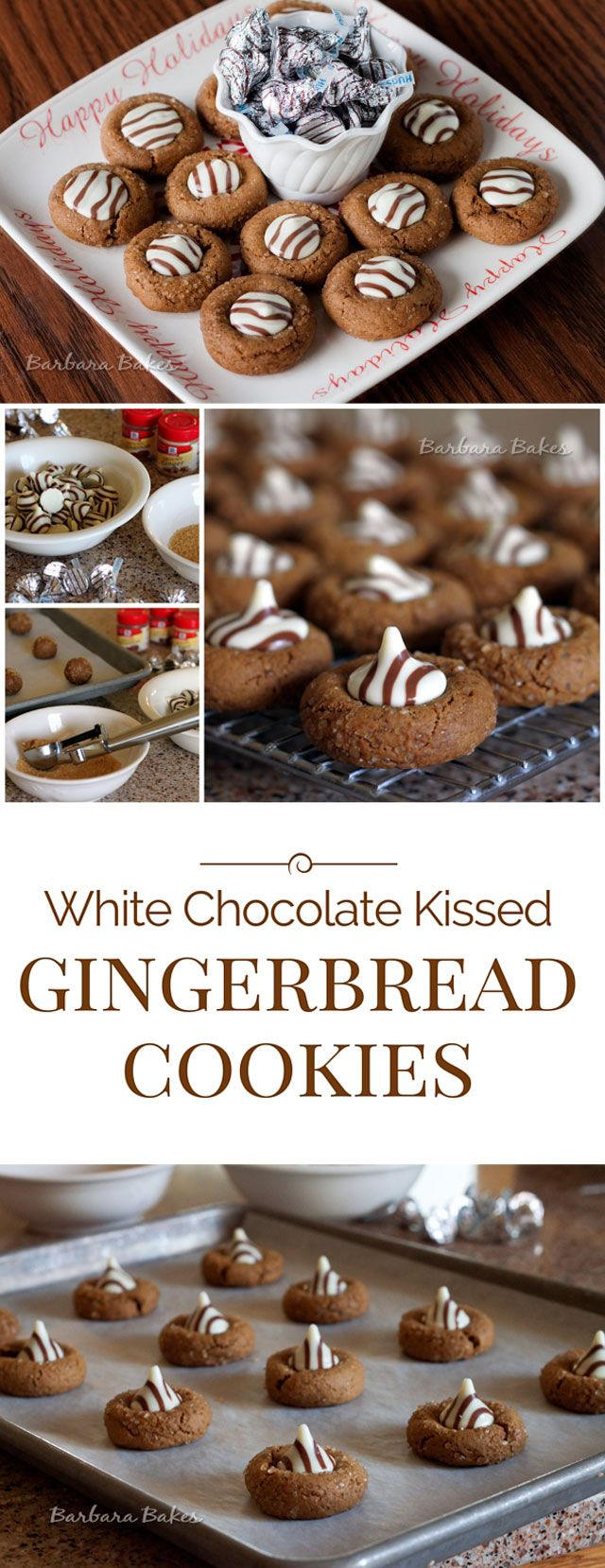White Chocolate Kissed Gingerbread Cookies - Soft gingerbread cookies dressed up with white chocolate Kisses with milk chocolate swirls.