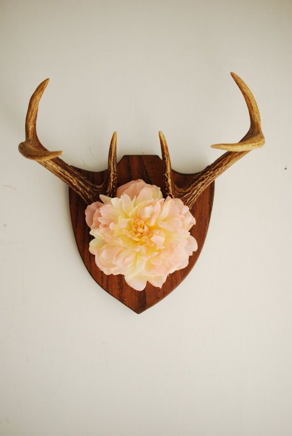 Vintage Deer Antler Mount with Flower  Floral Pink by hunterdear