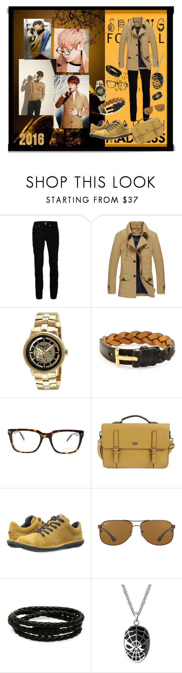"""""""Autumn camouflage"""" by farrukh-rabia ❤ liked on Polyvore featuring Topman, Kenneth Cole, Tom Ford, Ted Baker, Camper, Ray-Ban, Porsche Design, Blue Nile, men's fashion and menswear"""