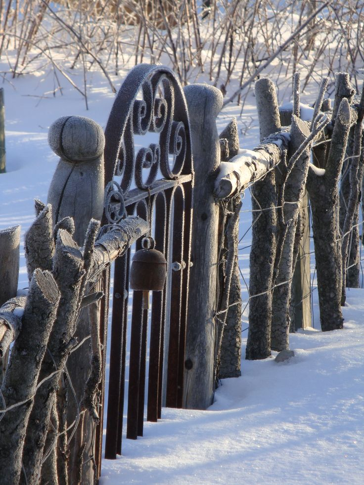 sleeping garden - love this rustic fence with an iron gate