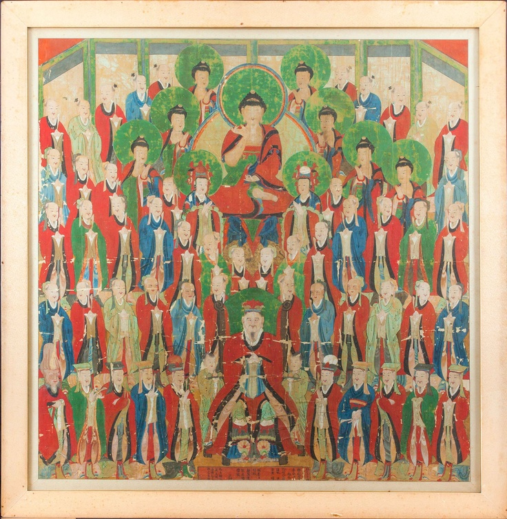 A wonderful painting with Tejaprabha Buddha with many heavenly deities. Korea, Choson dynasty, dated to 1866. Florence Number Nine