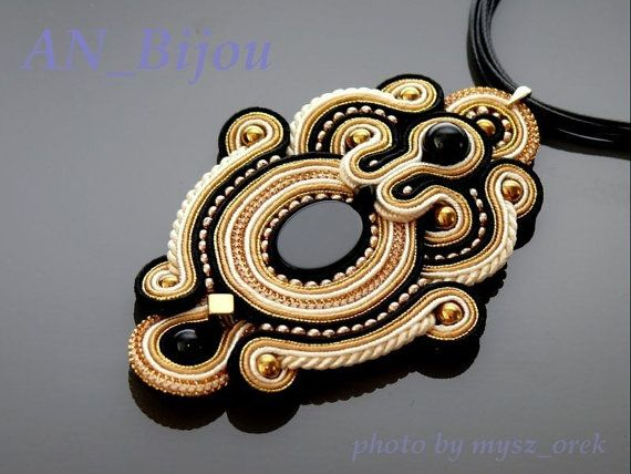 Soutache pendant Gold Haematite with Onyx . от ANBijou на Etsy