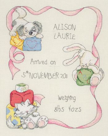 Anchor Nursery Birth Record - Cross Stitch Kit. Complete kit contains 14 count Cream Aida, pre-sorted Anchor floss, alphabet for personalizing, needle, chart an