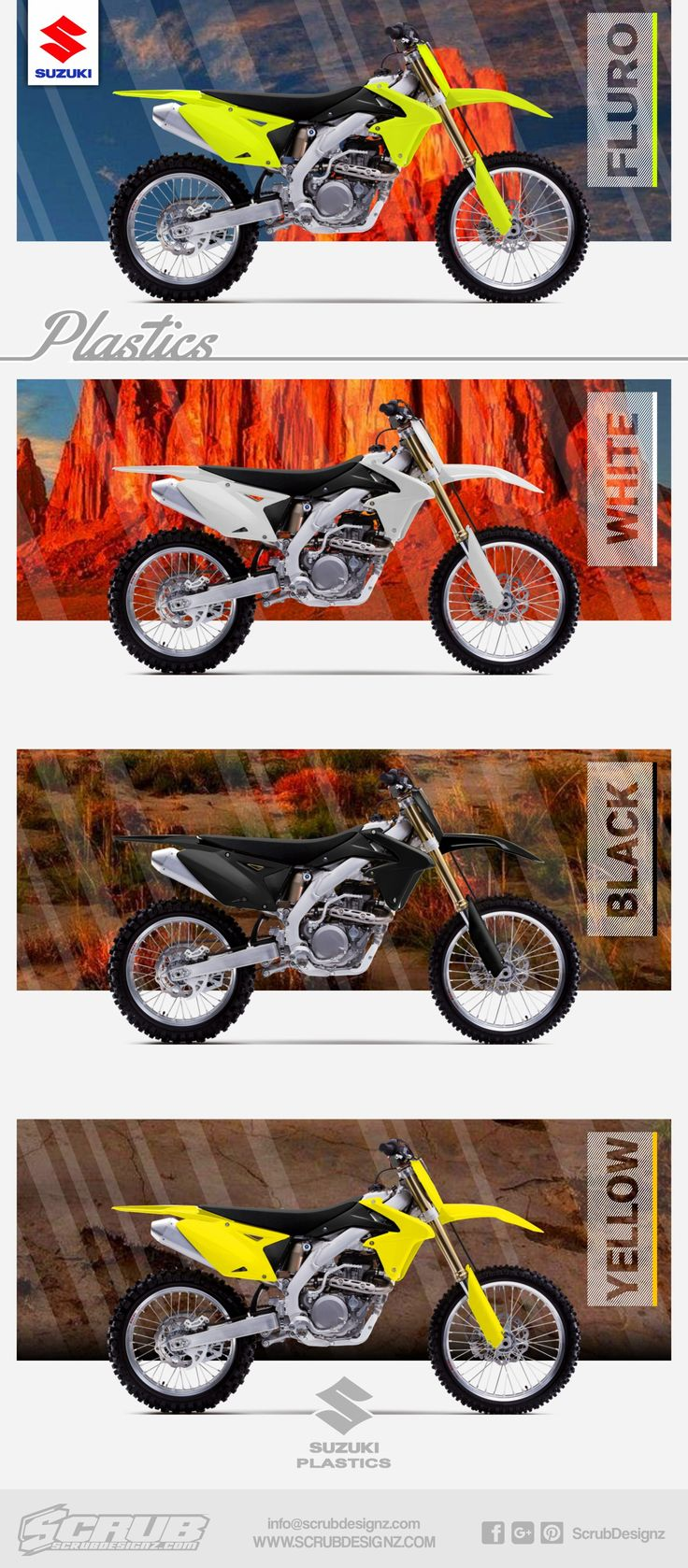 Dirt bike plastics for suzuki bikes any broken parts and scratches can be replaced with
