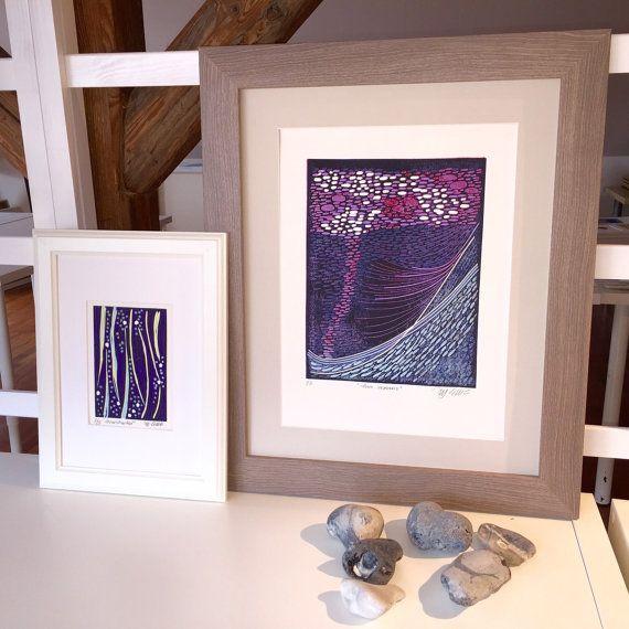 linocut printmaking Two Oceans blue purple by PrintmakerMJEllis