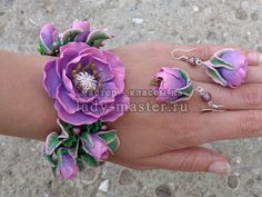 Tutorial for a pretty flower jewellery set, bracelet and earrings, in polymer clay. - In Russian