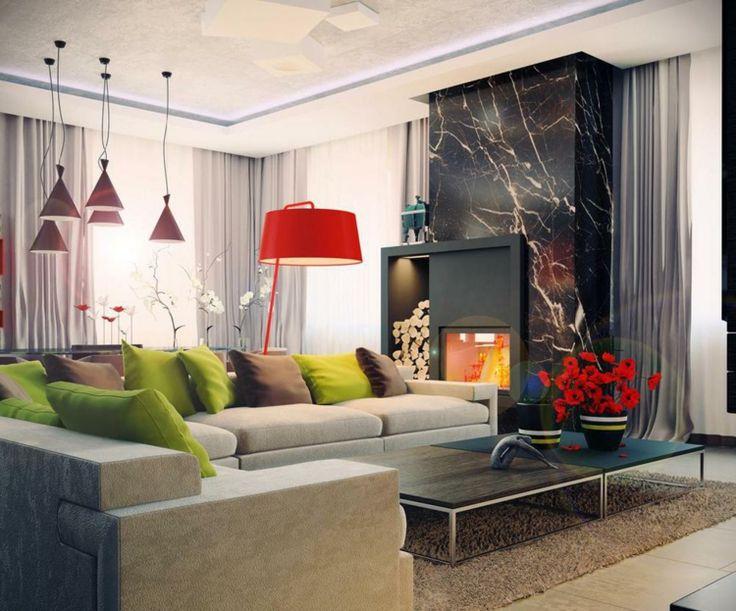 Lampen schön im Raum und rote Akzente, Das moderne Wohnzimmer wird durch schwarzen Marmor edler gestaltet