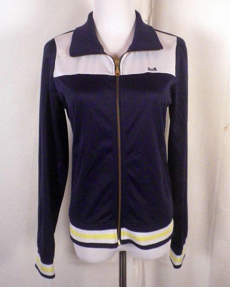 euc Le Tigre retro look Striped Navy Zip Up Track Jacket women's SZ L #LeTigre #trackjacket