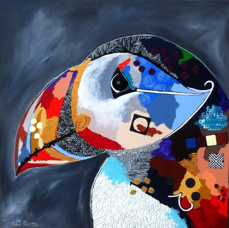 & # 39; Puffin & # 39 ;, acrylic on canvas, size 120×120 by Ester Steintjes