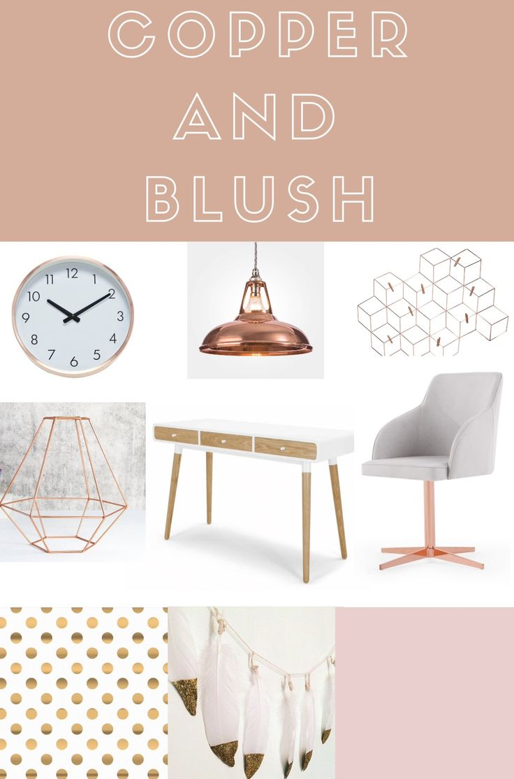 Copper and blush home office decor ideas