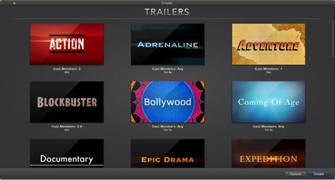 Figure. Create window showing trailer previews. Apple