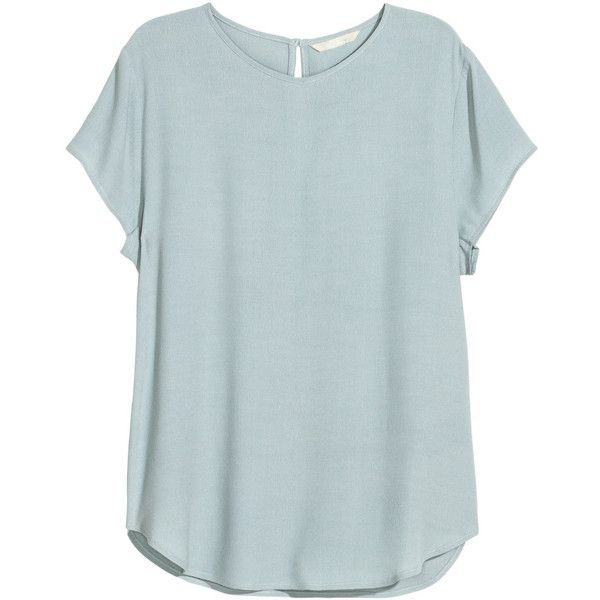 H&M Crêpe Blouse $9.99 found on Polyvore featuring tops, blouses, shirts, t-shirts, tops/outerwear, blue shirt, t shirts, shirts & tops, blue tee y blue t shirt
