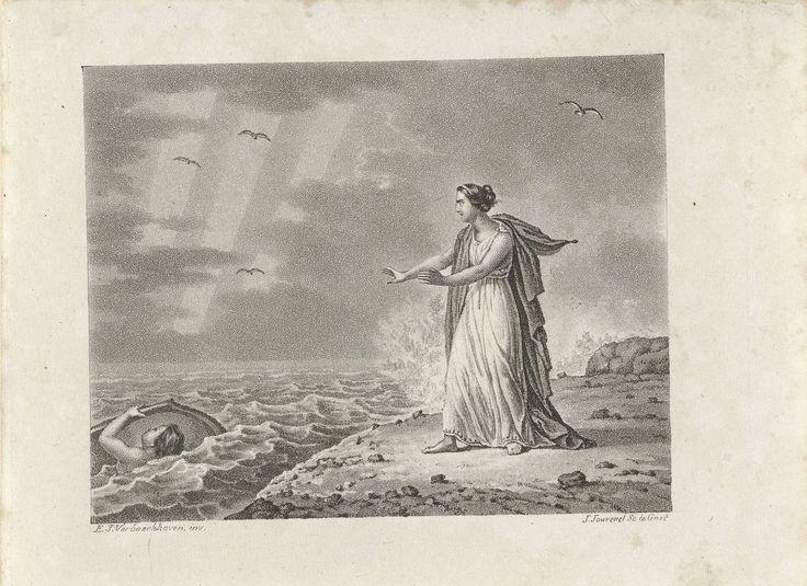 Is. Jouvenel | Vrouw aan kust, Is. Jouvenel, 1827 | Vrouw in Grieks gewaad aan de kustlijn. Ze heeft haar handen geheven richting een jongen. Hij zwemt in een woelige zee.