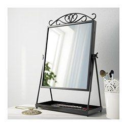 IKEA - KARMSUND, Miroir de table, , Le plateau sous le miroir peut servir à ranger bijoux ou produits de maquillage.Choisissez le style de votre miroir en plaçant ou non l'ornement sur le dessus.Miroir pivotant.Le miroir peut être posé sur une table ou une commode, ou accroché au mur.Peut être installé dans toutes les pièces de la maison, dont la salle de bains, car testé et approuvé pour cet usage.Le dos du miroir est couvert d'une pellicule de sécurité qui retient  les débris de…