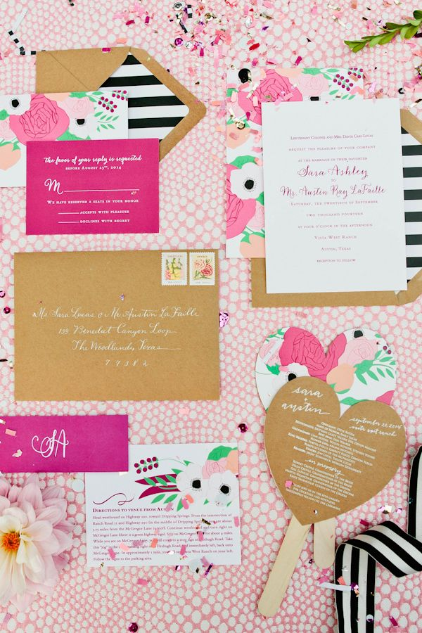 Bright, preppy Kate Spade invitation, photography by Love, The Nelsons || Southern Weddings