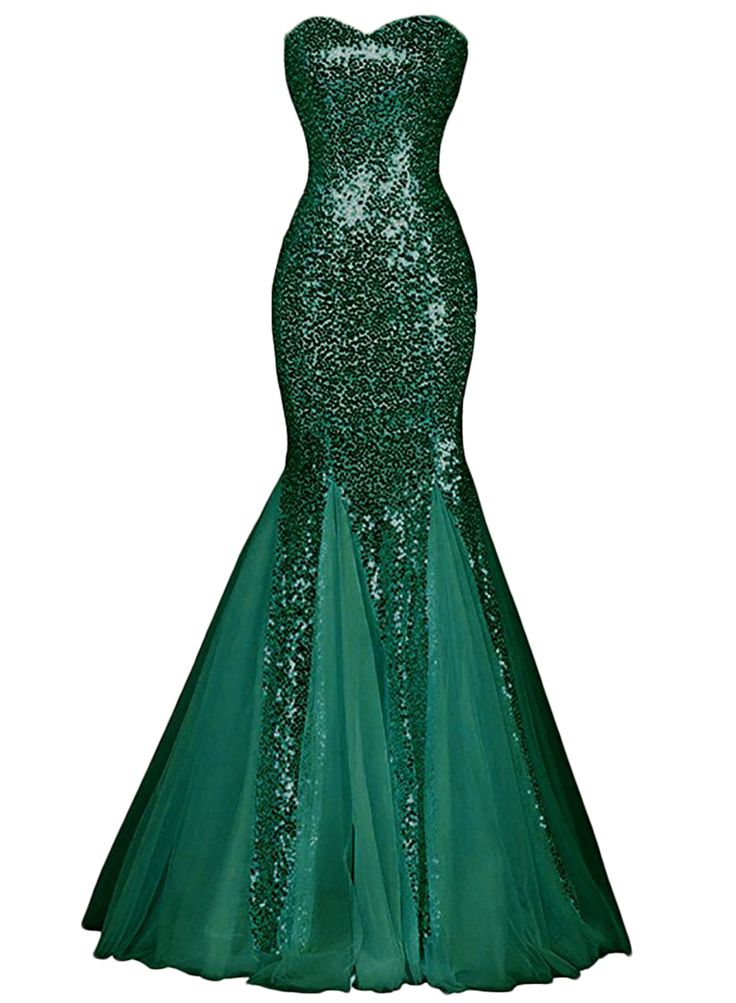 Womens Glamour Sweetheart Sequin Mermaid Long Mermaid Prom