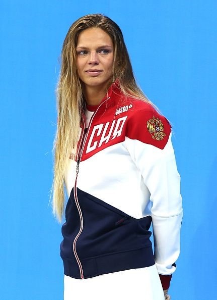 #RIO2016 Silver medalist Russia's Yulia Efimova at an award ceremony for the women's 100m breaststroke event at the 2016 Summer Olympic Games in Rio de...