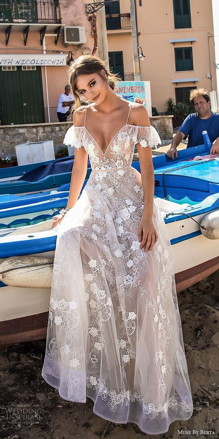 muse berta 2018 bridal spaghetti strap cold shoulder v neck full embellishment romantic soft a line wedding dress open back sweep train (14) mv -- Muse by Berta 2018 Wedding Dresses