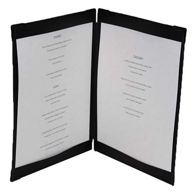 Black leather menu cover 2 panels, black corners