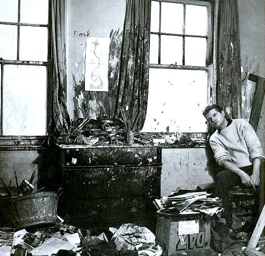 Francis Bacon in his studio in 1959.  Photo by Cecil Beaton.