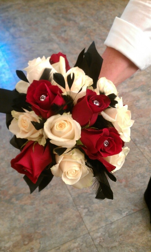 Black Red And White Bouquet With A Touch Of Feathers