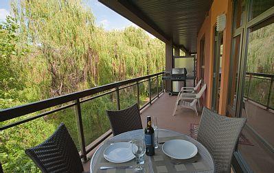 Playa del Sol 370 - View from back creekside balcony looking east. #kelowna #vacation #rental #vrbo #playadelsol370 www.playadelsol370.com