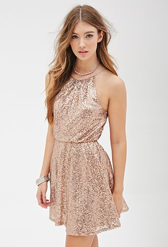 Sequined High-Neck Dress | FOREVER21 - 2000116954