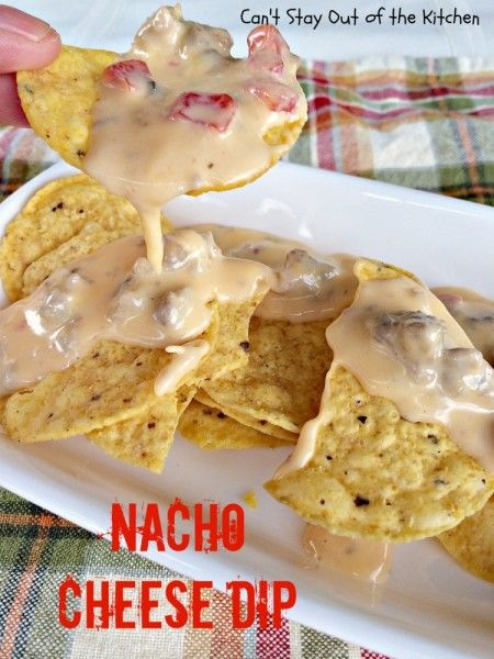 Nacho Cheese Dip - quick and easy 4-ingredient #appetizer made in the #crockpot. Great for #tailgating parties. #nachos #cheese #Tex-Mex #sausage via Can't Stay Out of the Kitchen