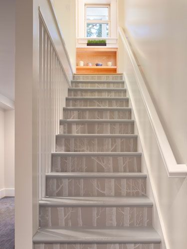 Step it Up For a quick and unexpected way to add personality to your steps, wallpaper the riser. Tip: Shop for affordable rolls on sites such as eBay. Read more: Decorating with Wallpaper - DIY Wallpaper Crafts - Good Housekeeping
