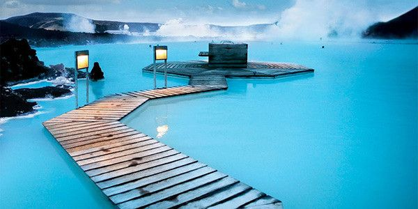Blue Lagoon, Grindavík, Iceland   These phosphorescent, geothermal waters run hot year-round, shrouded with an ethereal steam mist. The Blue Lagoon is one of Iceland's most popular attractions.