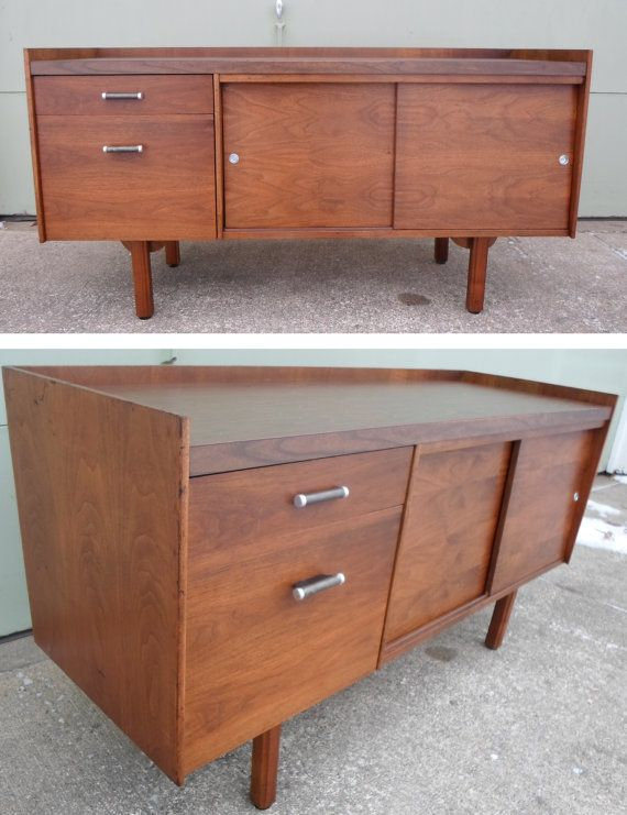 Teak credenza eames era television stand console tv for Modern office credenza