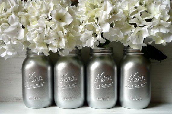 Silver - Home and Wedding Decor - Vase - Painted Mason Jars. Easy DIY!!