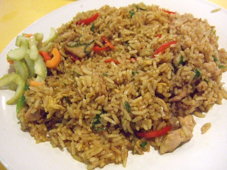 Nasi goreng / fried rice, Indonesian , Dutch. My father cooked this with expertise and we loved it.