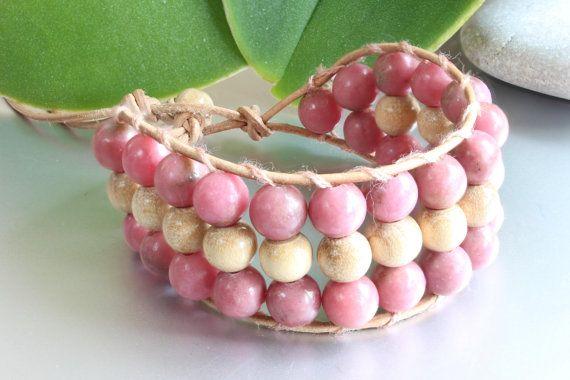 Rhodonite Beaded Bracelet for Women, Leather Wrap Bracelet, Summer Bracelet, Healing Bracelet, Bracelets for Girls, Pink Bracelet, Gift Her