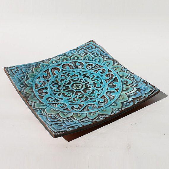 turquoise mandala bowl housewares  textured  decorative  by GVEGA, €69.00