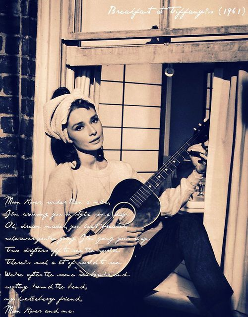 Audrey Hepburn singing Moon River in Breakfast at Tiffany's really is just a perfect moment.