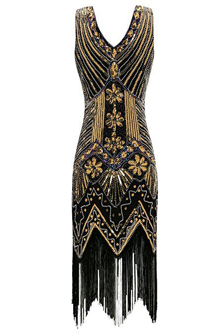 d7bebca303b9 Metme Women s 1920s V Neck Beaded Fringed Gatsby Theme Flapper Dress For  Prom at Amazon Women s Clothing store